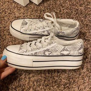 Platform snakeskin sneakers